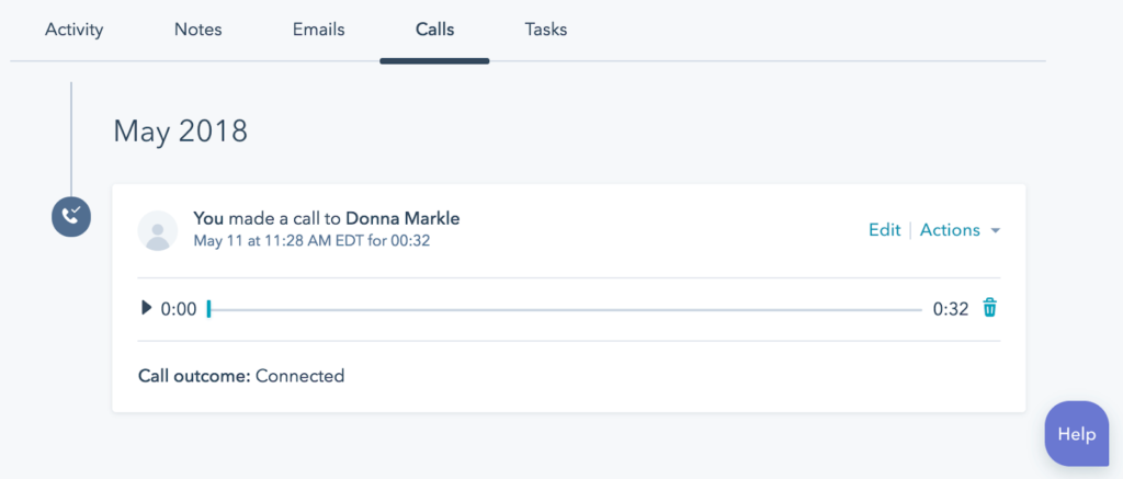 image showing call player in HubSpot contact record