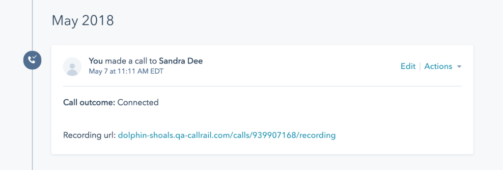 call recording data shown in hubspot contact record