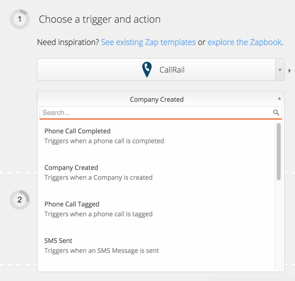 Choose CallRail as a Zapier Trigger