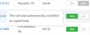 CallScore's Automated Lead Classification