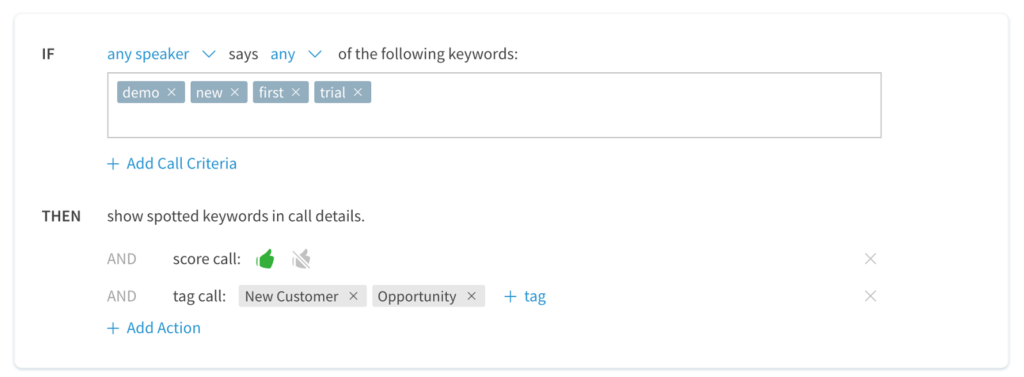 Setting for keyword criteria and call scoring