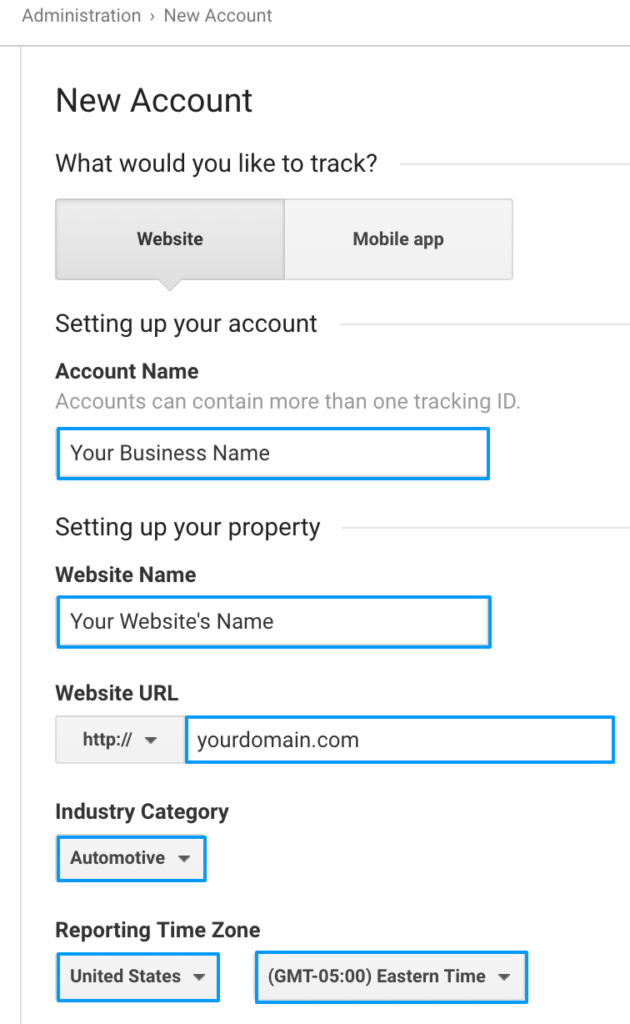 Google Analytics Account Setup