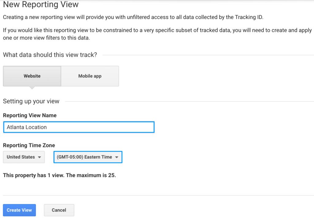 Google Analytics create a view setup
