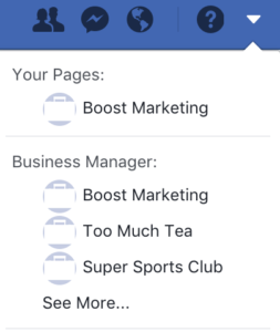Facebook Business Manager and Pages are accessible from the drop down in the main menu
