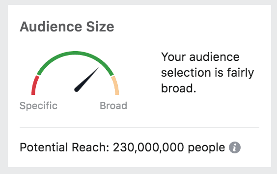 Estimated Target Audience Size in Facebook settings