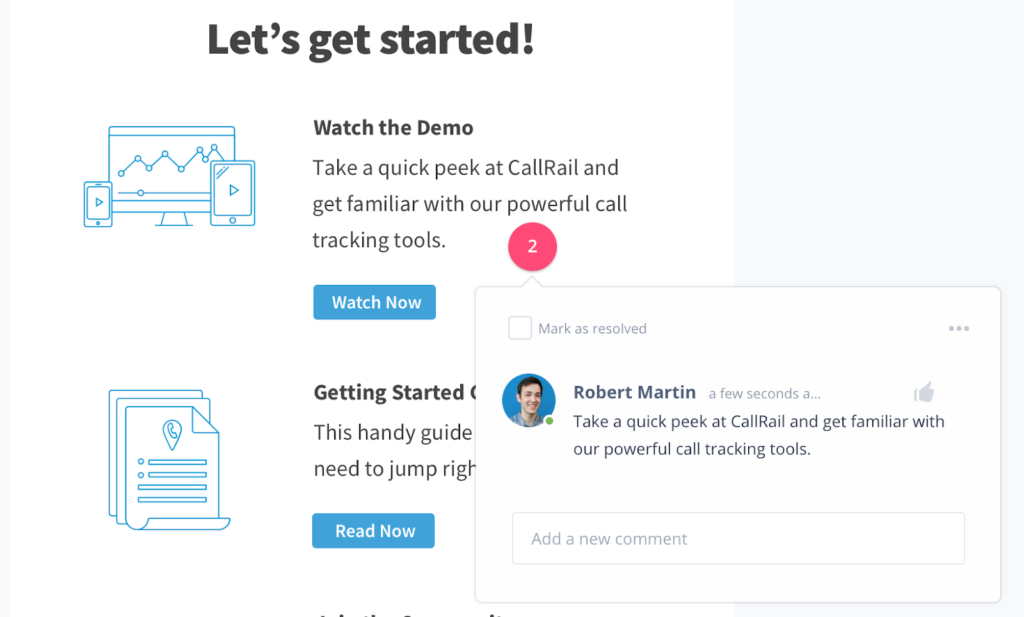 CallRail chatbot design by UX writers