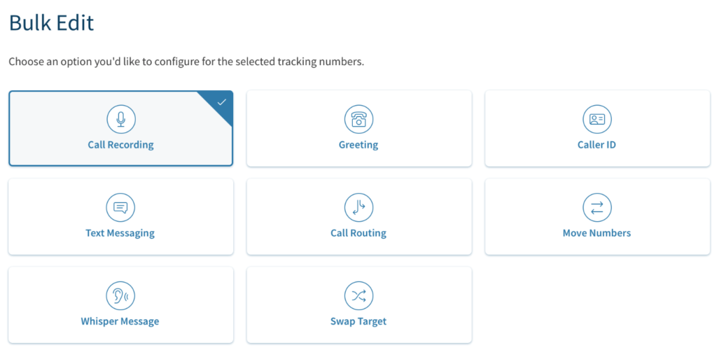 CallRail features to configure with call tracking numbers