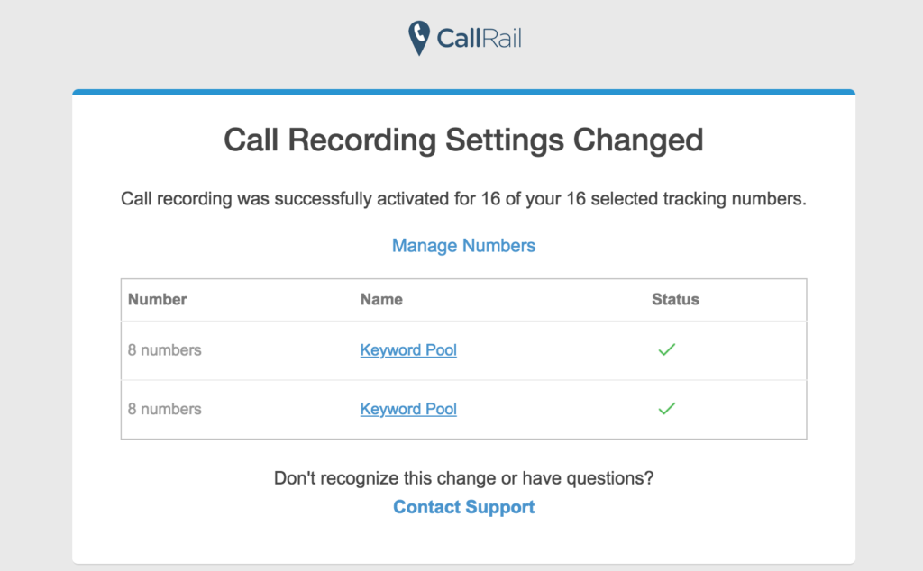Call recording for call tracking numbers
