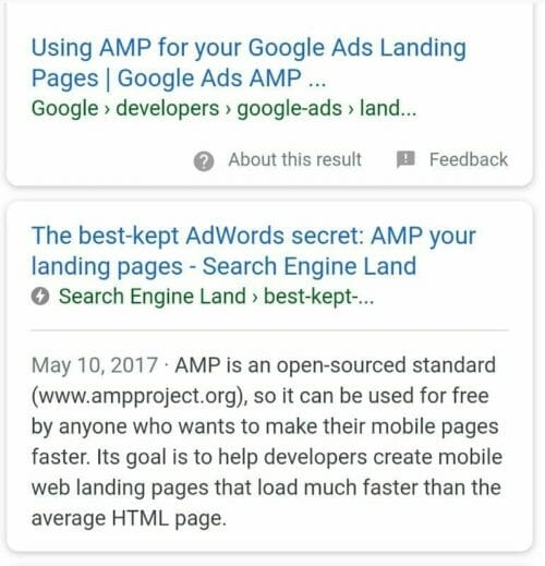 Screenshot of Google search result AMP pages