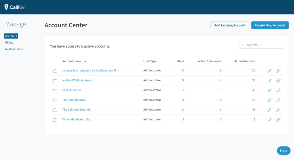callrail account center interface