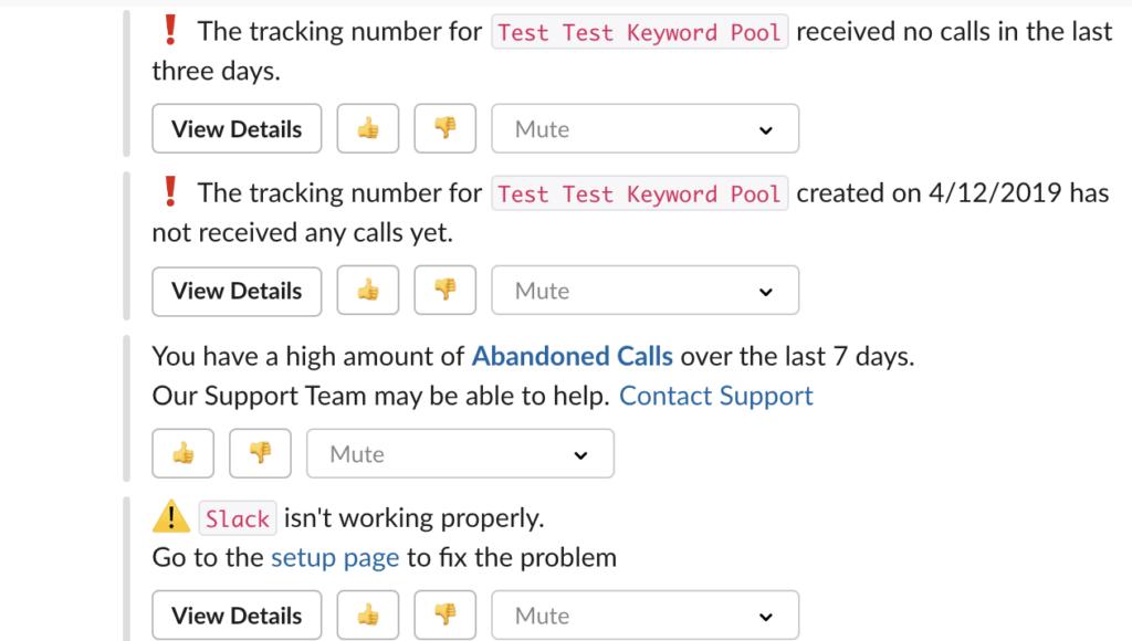 callrail slack anomaly alert