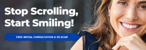 "Dentist banner ad ""Stop Scrolling, Start Smiling"""