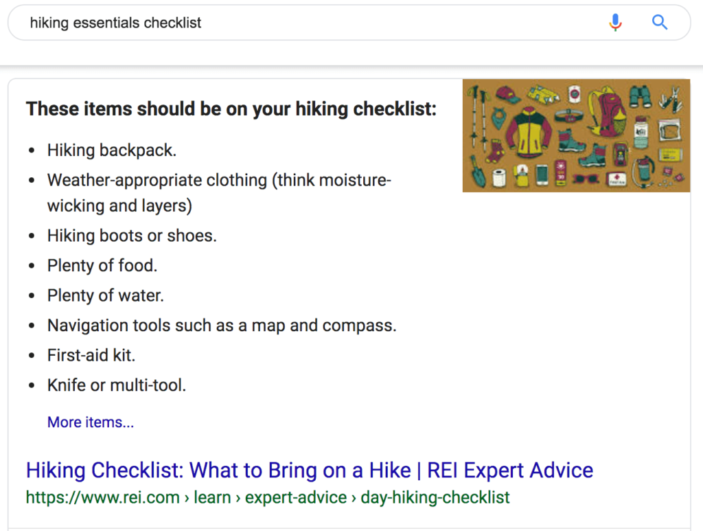Bulleted list featured snippet of a hiking checklist