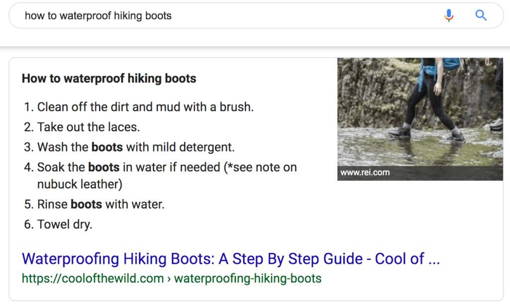 Featured snippet for waterproofing hiking boots