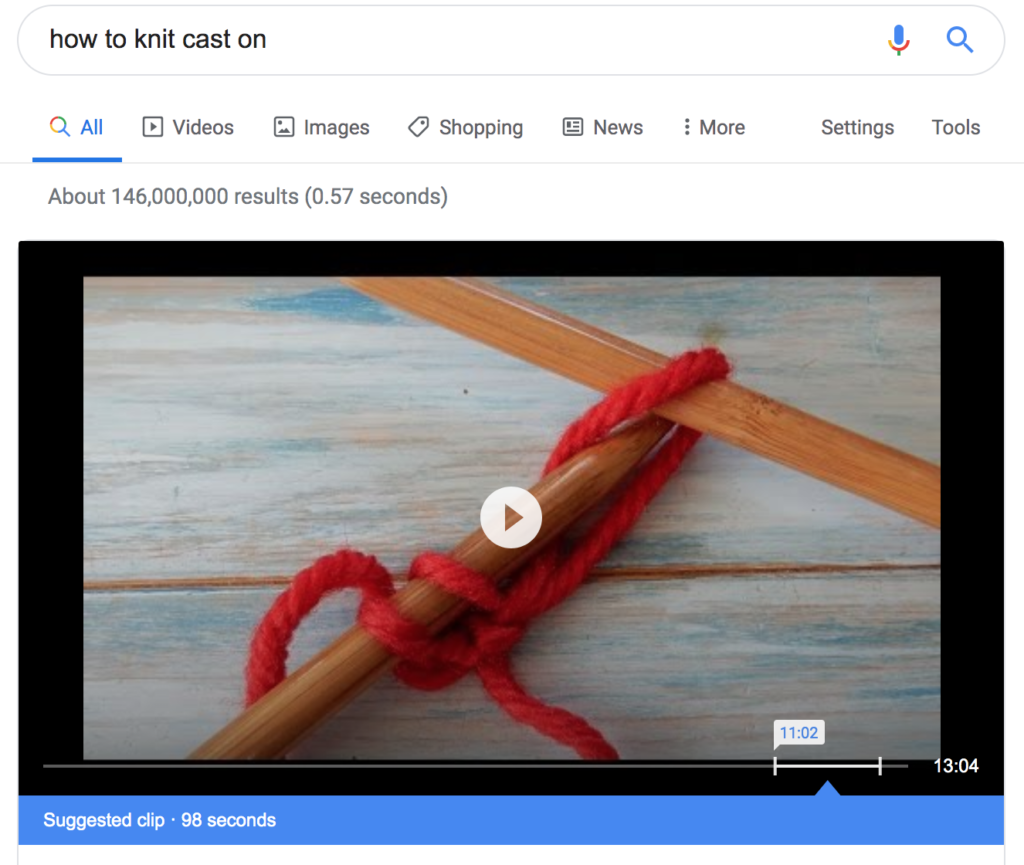 Video featured snippet of knitting with suggested time clip