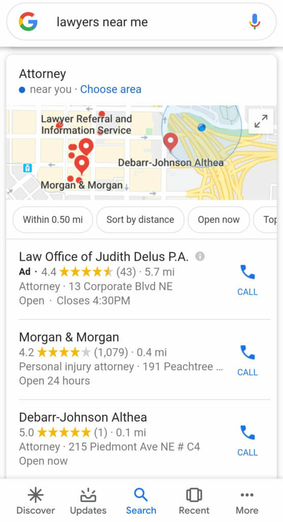 Mobile search result displaying lawyers near me