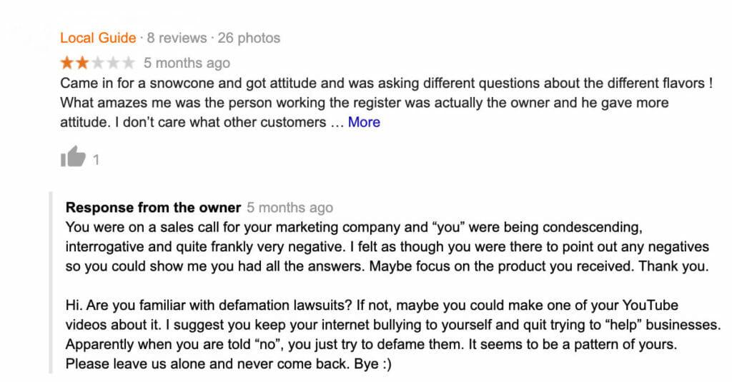Screenshot of negative GMB review