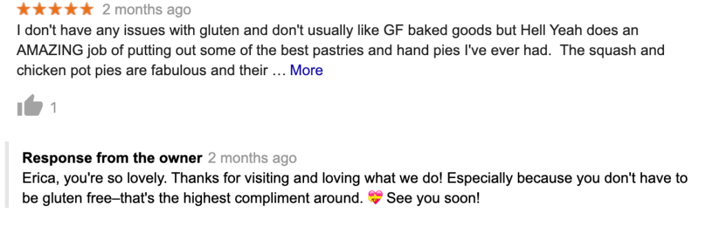 Positive customer review of a bakery including a response from the owner thanking them personally